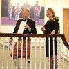 Burns Night: Ken Smith and Anne-Marie Biernacki-Smith on stair landing