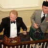 Burns Night: Ken Smith and George Gilpatrick speaking from stair landing