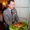 Burns Night: George Gilpatrick with real haggis, in doorway to Conservatory