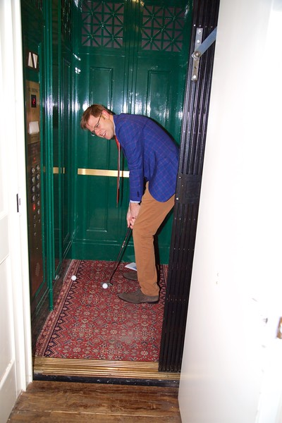 Burns Night: Paul driving out of elevator on Hole 1