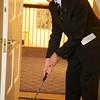 Burns Night: Peter Van Demark putting on Hole 2 near door to Billiard Room
