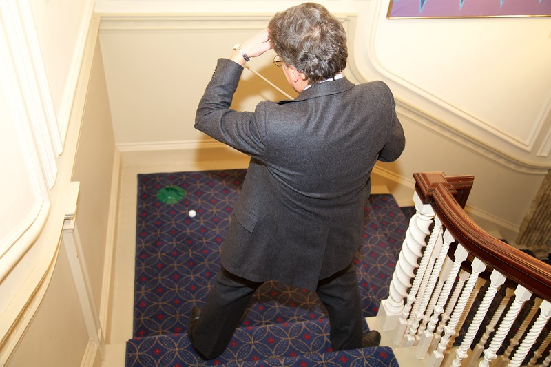 Burns Night: Ken Turino rolling out of cup on Hole 3 on stairs