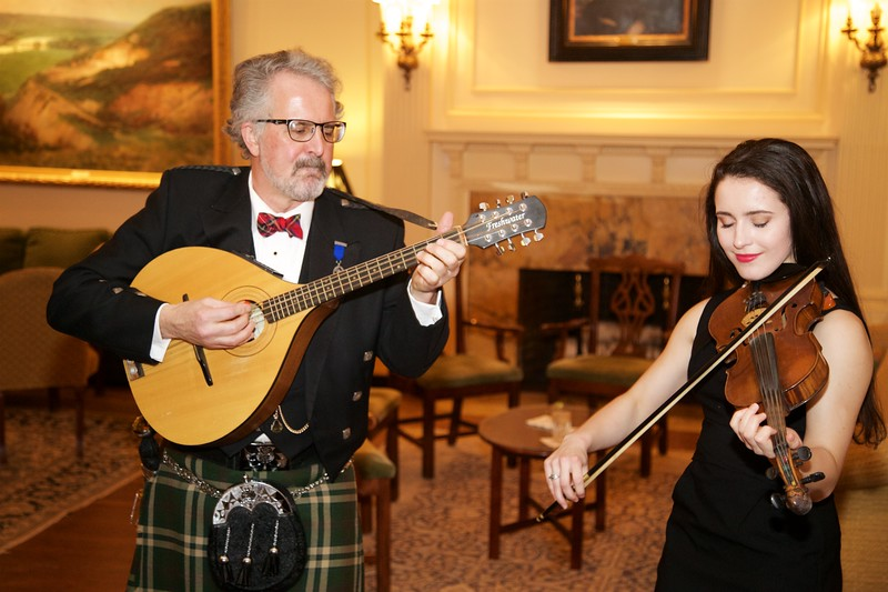 Burns Night: Sir Jeremy and Katie Bell playing mandolin and violin