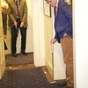 Burns Night: Lisa Bonneville, George Davis and Paul studying lie in middle of Hole 2 on second floor coatroom