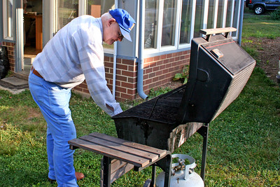 """Getting the grill prepared for the """"dogs"""""""