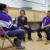 The YMCA in Fitchburg held a teen dating violence seminar with skits by MOC and the YMCA youth peer leaders; personal stories from those who have experienced dating violence with interactive activities for attendees. acting out a scene for the attendees is from left Analuise Herrara, Lavonnia Fernandez and Marcos Rivier. Lavaonnia is playing a councilor for the a couple in which the girlfriend was sexually abusing her boyfriend. SENTINEL & ENTERPRISE/JOHN LOVE