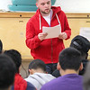 The YMCA in Fitchburg held a teen dating violence seminar with skits by MOC and the YMCA youth peer leaders; personal stories from those who have experienced dating violence with interactive activities for attendees. Reading one of those personal stories about a friends dealing with dating violence is Fitchburg High School senior Jack Reynolds, 18. SENTINEL & ENTERPRISE/JOHN LOVE