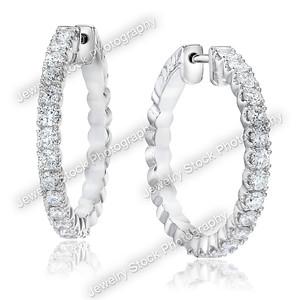 E20639 Diamond Hoop Earring Turned group