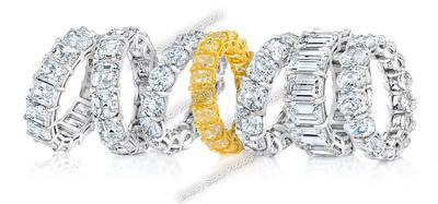 Diamond Eternity Wedding band Group Shot Flatter