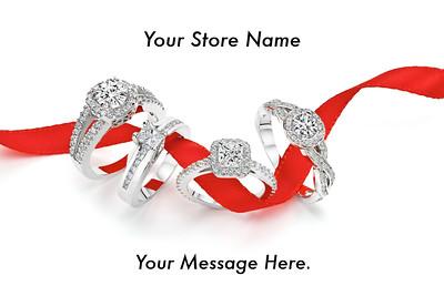 Red Ribbon Diamond Ring Postcard