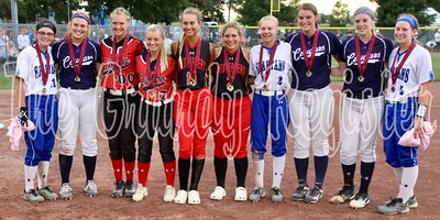 The Class 1A all-tournament team, presented after the softball championship game in Fort Dodge. AGWSR's MaKenna Kuper (second from left), Rachel Sicard (third from right) and Taryan Barrick (second from right) were selected to the team.