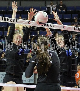 Madison Hedges (2) and Amber Rickert (16) block a Western Christian attack during Friday's Class 2A championship game in Cedar Rapids. (Jake Ryder/Mid-America Publishing photo)