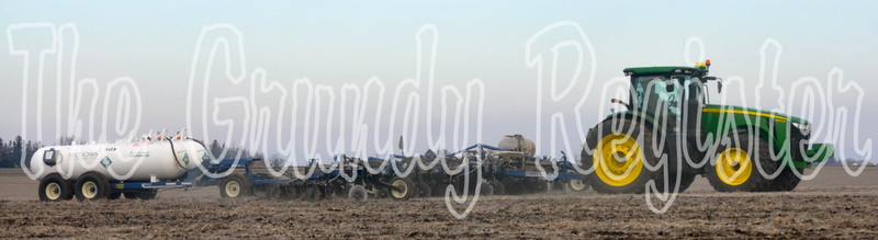 A farmer applies anhydrous in a field just off of T-29 between Grundy Center and Beaman.
