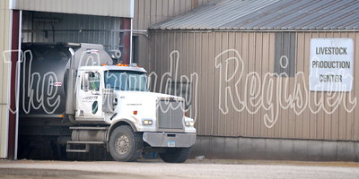A truck pulls up to the Heartland Cooperative site in Reinbeck.