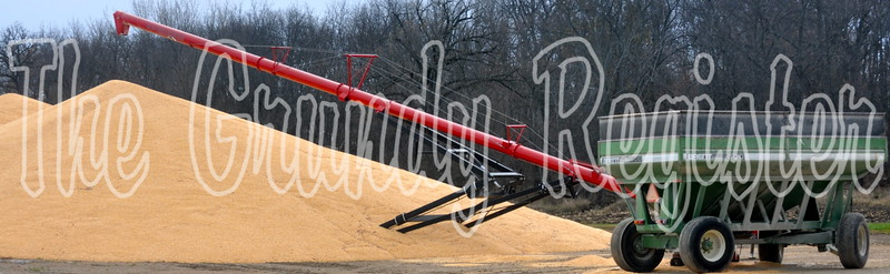 Corn sits in outside storage next to the Mid-Iowa Cooperative Conrad elevator with a grain cart and auger nearby.