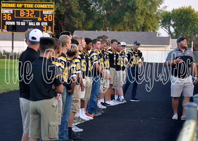 Football coach Anthony Jahr introduces his team on Friday night.