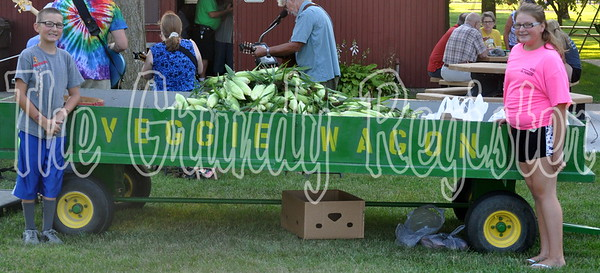 Dylan and Kaylee Thomas manned the Veggie Wagon at the annual FRB sweet corn feed. The event raised over $2,000.