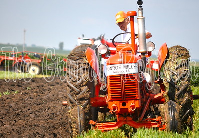 Monroe Miller of Kalona works his row during the state plowing competition.