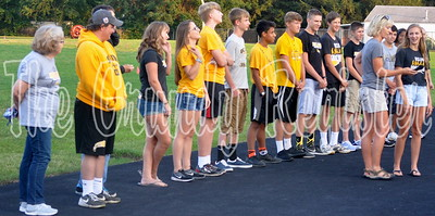 Coach Donna Fiscus introduces the BCLUW High School Cross-Country team.