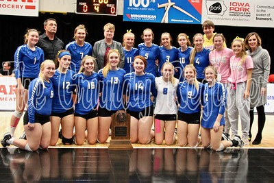 The Dike-New Hartford volleyball team poses with its state quarterfinalist trophy at the U.S. Cellular Center in Cedar Rapids. (Jake Ryder photo)