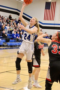 D-NH's Katie Knock goes up for the lay-up in Friday's game at Dike against Union. (Jake Ryder photo)
