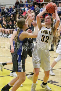 BCLUW's Allison Engle looks for the shot in the paint during Friday's game in Conrad with Gladbrook-Reinbeck. (Jake Ryder, Mid-America Publishing)