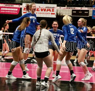 The Gladbrook-Reinbeck volleyball team celebrates a point during the Rebels' state quarterfinal match with Janesville in Cedar Rapids last Wednesday. (Jake Ryder photo)