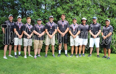 The Dike-New Hartford boys golf team made it to state for the first time in school history at the state boys meet in Marshalltown. The Wolverines finished fourth in the team standings, led by state champion Bo Weissenfluh (fourth from right).