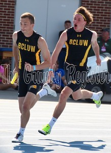 BCLUW's Jack Garber (left) left Des Moines with four medals, including individual medals in the 400 and 110 high hurdles. Teammate Logan Mann (right) ran with Garber in the sprint medley, where the Comets earned a fifth-place finish.