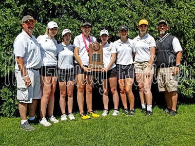 The BCLUW girls golf team took third place in the Class 1A state tournament in Marshalltown, led by state medalist Lauren Anderson (fourth from left).