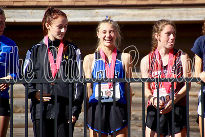 Dike-New Hartford's Taylor Kvale (center) laughs as she approaches the railing with the rest of the top-15 finishers in Saturday's Class 2A state cross country meet.
