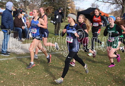 Dike-New Hartford's Jadyn Bennett (239) leads a pack of runners during the Class 2A race at the state cross country meet in Fort Dodge on Saturday. (Jake Ryder photo)