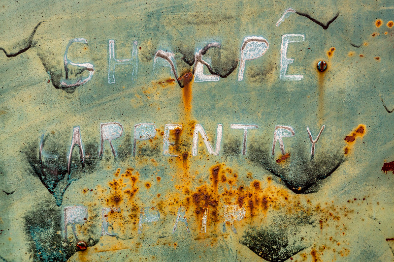 Hand Painted Sign on Rusty Pickup
