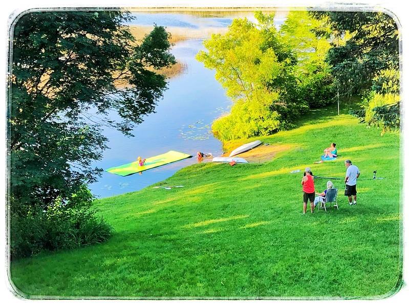 Swim mat and kayaks added