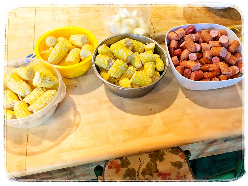 Shrimp boil night cutesy of the Geidel's
