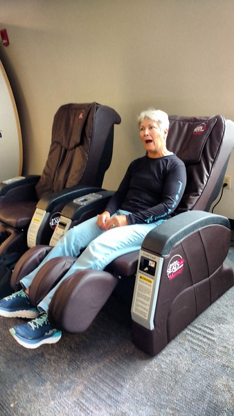 Using leftover minutes on massage chairs!