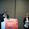 48th Union World Conference on Lung Health, Guadalajara, organised by the International Union Against Tuberculosis and Lung Disease.<br /> Photo©Marcus Rose/The Union<br /> Photo Shows Jeremiah Chakaya Muhwa, The Union's President, and Dr E Jane Carter, past-President, at the General Assembly Membership Meeting and Vote.
