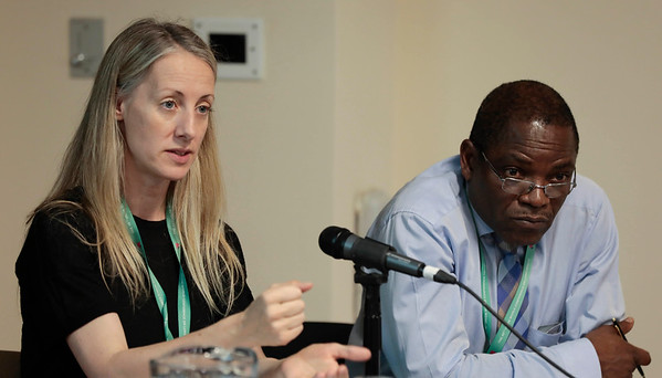 The 48th Union World Conference on Lung Health, Guadalajara, Mexico.<br /> Photo shows Helen Platt, The Union's Communications Director, and Jeremiah Chakaya Muhwa, The Union's President, at the Inter-regional meeting.<br /> Photo by Javier Galeano / The Union