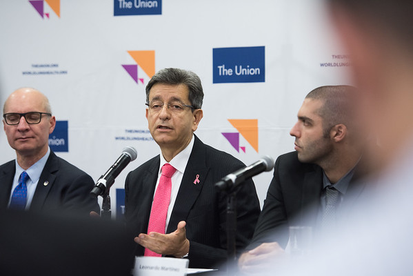 48th Union World Conference on Lung Health, Guadalajara, organised by the International Union Against Tuberculosis and Lung Disease.<br /> L-R: José Luis Castro, Executive Director of The Union, Dr Pablo Antonio Kuri Morales, Undersecretary for Prevention and<br /> Health Promotion, Mexico and Leonardo Martinez, Post-Doctoral Research Fellow, Stanford University School of Medicine, USA. At the Official Opening Press Conference about Glycemic Control and the Prevalence of Latent TB Infection – a population-based study<br /> Photo©Marcus Rose/The Union