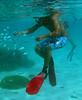 Snorkeler simulating fish feeding