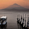 Early morning dawn. Lake Atitlan and the 3 volcanoes.