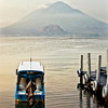 Shot taken a 1/2 hour later. Lake Atitlan and the 3 volcanoes.