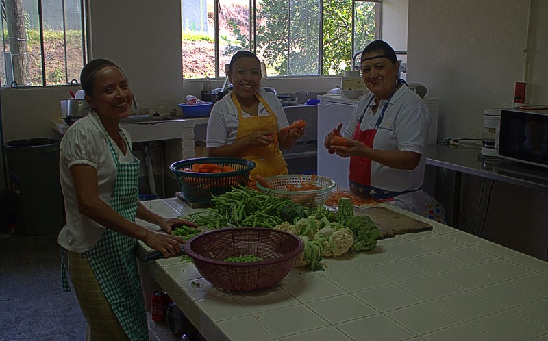 Kitchen staff making lunch