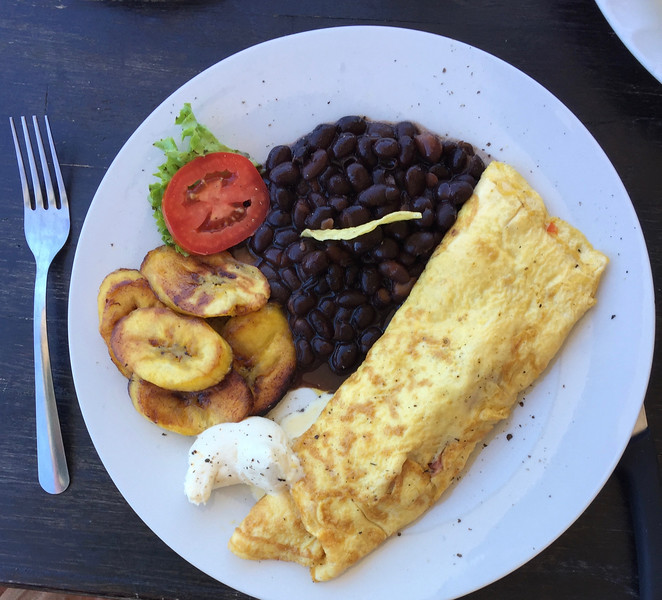 Or fried plantains (not bananas), black beans and cheese omelette - also very good!