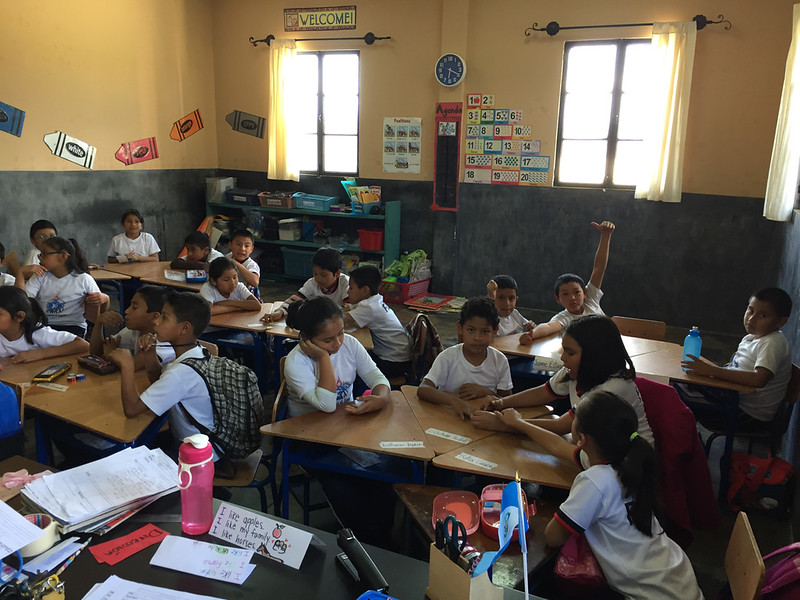 I am often assisting in the English classes of the younger grades taught by one of my colleagues.