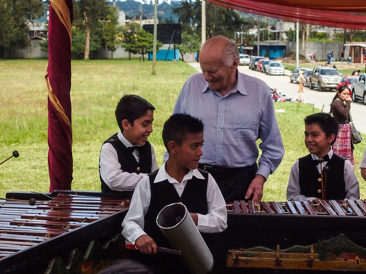 Dr. Robicsek with Marimba Players