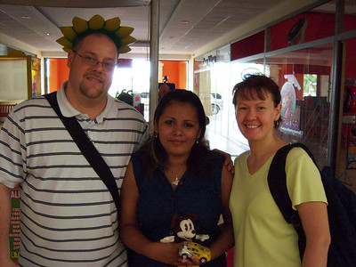 Me, Diana, and Sveta.  Sveta wanted an ice cream.  Sveta shared the gospel with Diana (who sold Sveta the ice cream) and she prayed to receive Christ.  p.s.  I am not wearing a hat or anything on my head... its somewhere in the background, but couldnt be placed anywhere more perfect.