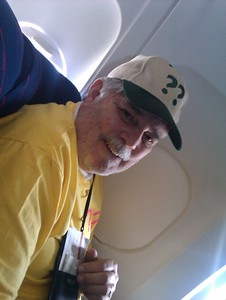 Pastor Randy on the flight from Miami to Guatemala city.