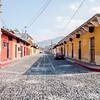 Cobblestone street in Antigua, Guatemala