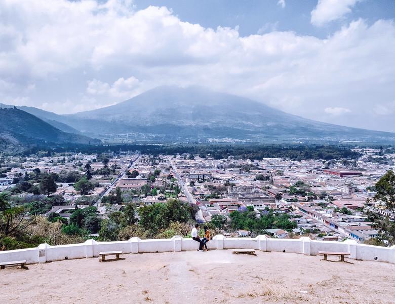View on the city of Antigua Guatemala from the Hill of the Cross (Cerro de la Cruz).